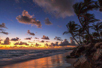Sunrise on the beach of caribbean sea