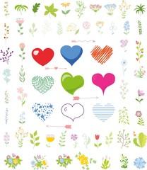 Векторный набор Валентина сердца и цветочных элементов