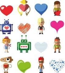 Векторный набор Валентина сердца, роботов и людей для дизайна