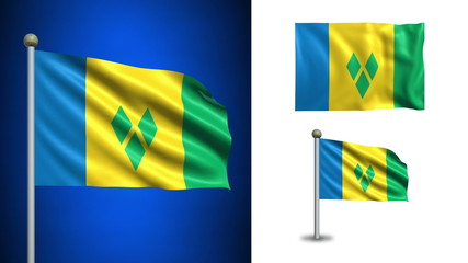 S.V. Grenadines flag - with Alpha channel, seamless loop!