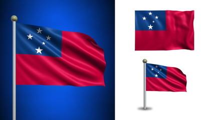 Samoa flag - with Alpha channel, seamless loop!