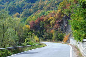 Twisted Road in the Mountains in the Fall