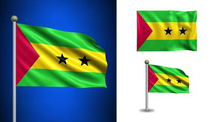 São Tomé and Príncipe flag - with Alpha channel, seamless loop!
