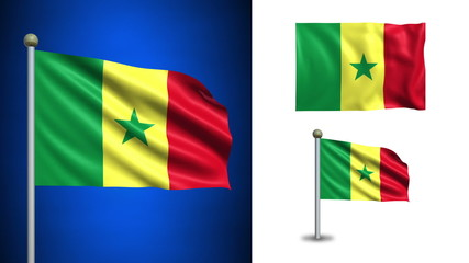 Senegal flag - with Alpha channel, seamless loop!