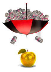 Money falling into golden apple.