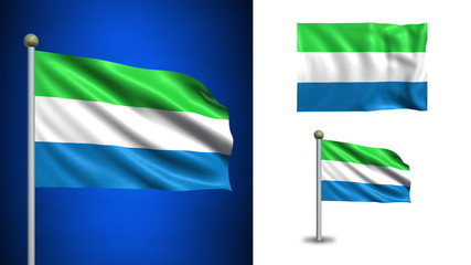 Sierra Leone flag - with Alpha channel, seamless loop!