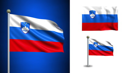 Slovenia flag - with Alpha channel, seamless loop!