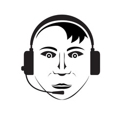Vector silhouette of telephone support man wearing headphones