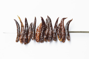Dry chili on the white background use for thai food