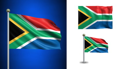 South Africa flag - with Alpha channel, seamless loop!