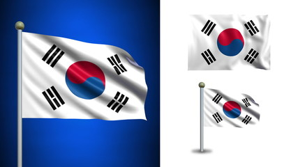 South Korea flag - with Alpha channel, seamless loop!