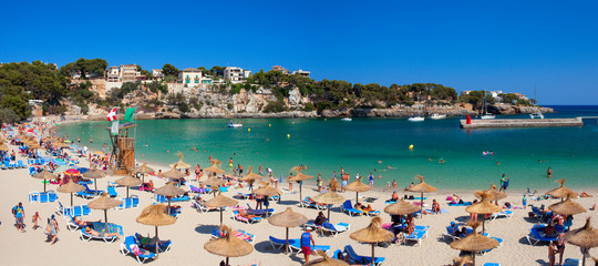 Sunny day on beautiful beach with pure water. Majorca