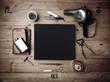 Leinwandbild Motiv Set of vintage tools of barber shop and black poster