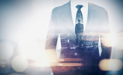 Double exposure concept with businessman silhouette. With specia