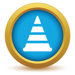 Gold worker sign icon