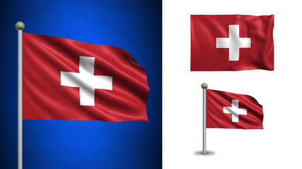 Switzerland flag - with Alpha channel, seamless loop!