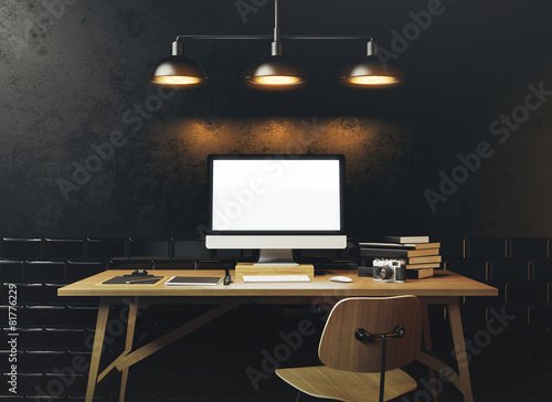 Mock up of generic design computer screen. Workspace in the blac
