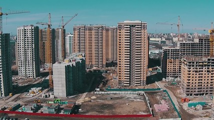 Flying Above Unfinished Buildings, aerial view