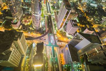 City downtown at night Bird eyes view of Bangkok