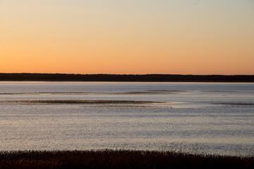 beautiful sunrise over country lake