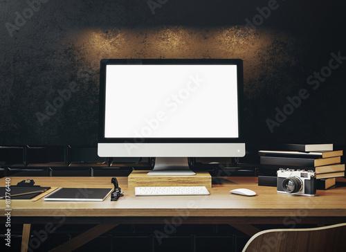Leinwandbild Motiv Mock up of generic design computer screen on the table. Workspac