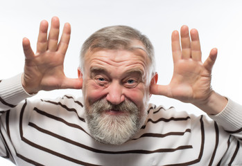 Old man with a beard covering his earsr white background