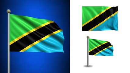Tanzania flag - with Alpha channel, seamless loop!