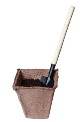 container seedlings, shovel