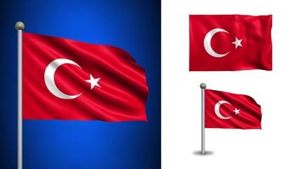 Turkey flag - with Alpha channel, seamless loop!
