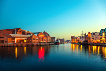 The riverside at evening in Gdansk, Poland.