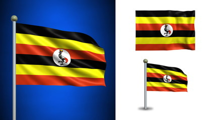 Uganda flag - with Alpha channel, seamless loop!