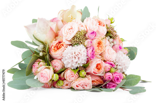 Plexiglas Rozen Beautiful bouquet of flowers isolated on white background