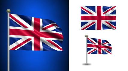 UK - United Kingdom flag - with Alpha channel, seamless loop!