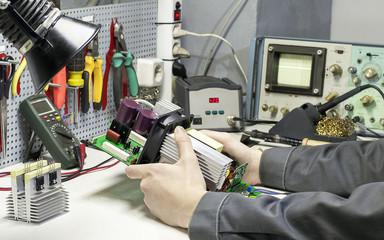 Electronic device on the Desk of engineer mechanics