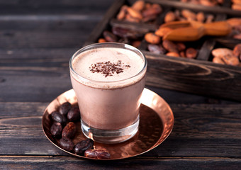 Cocoa with chocolate and cocoa beans