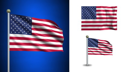 USA - United States flag - with Alpha channel, seamless loop!