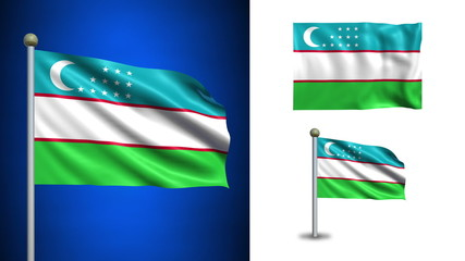 Uzbekistan flag - with Alpha channel, seamless loop!