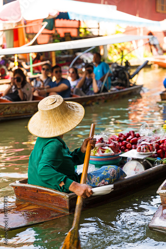 Traditional floating market in Damnoen Saduak near Bangkok.
