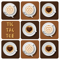Tic-Tac-Toe of cappuccino