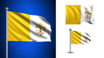 Vatican flag - with Alpha channel, seamless loop!