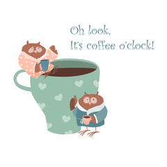 Cute owl with coffee mug