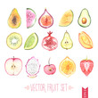 Watercolor vector fruit set - 81778277