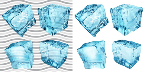 Transparent and opaque blue ice cubes