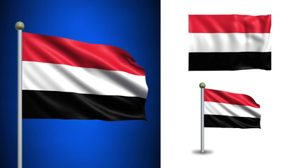 Yemen flag - with Alpha channel, seamless loop!