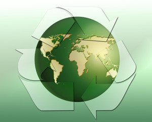 Planet earth and recycling symbol