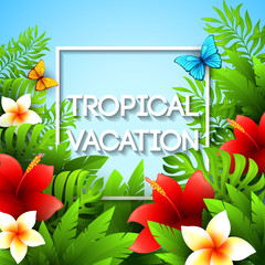 Exotic vacation. Vector illustration with tropical plants and