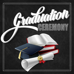Graduation Ceremony. Book, hat and certificate. Vector