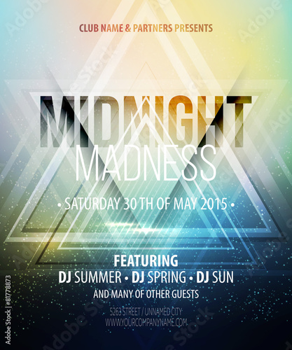 Midnight Madness Party. Template poster. Vector illustration - 81778873