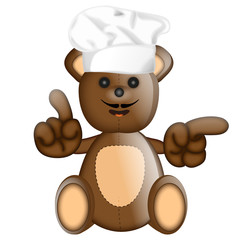 Funny Teddybear cook cooking chef hat cartoon illustration
