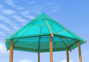 Wooden gazebo is on the sky background.